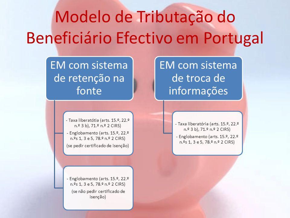 Modelo de Tributação do Beneficiário Efectivo em Portugal EM com sistema de retenção na fonte - Taxa liberatótia (arts. 15.º, 22.º n.º 3 b), 71.º n.º