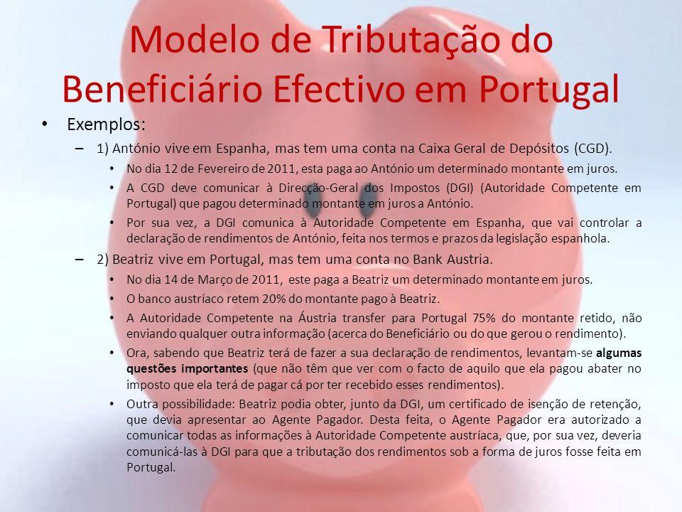 Modelo de Tributação do Beneficiário Efectivo em Portugal Exemplos: – 1) António vive em Espanha, mas tem uma conta na Caixa Geral de Depósitos (CGD).