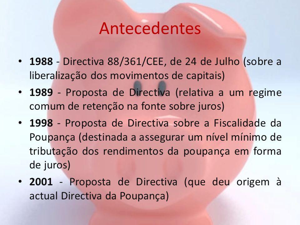 Antecedentes 1988 - Directiva 88/361/CEE, de 24 de Julho (sobre a liberalização dos movimentos de capitais) 1989 - Proposta de Directiva (relativa a u