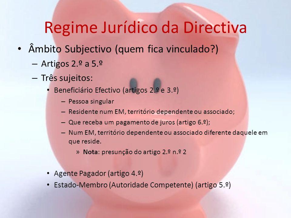Regime Jurídico da Directiva Âmbito Subjectivo (quem fica vinculado?) – Artigos 2.º a 5.º – Três sujeitos: Beneficiário Efectivo (artigos 2.º e 3.º) –