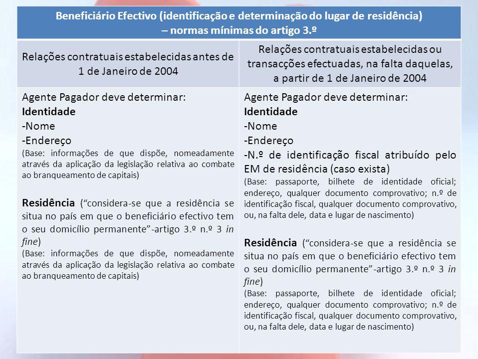 Beneficiário Efectivo (identificação e determinação do lugar de residência) – normas mínimas do artigo 3.º Relações contratuais estabelecidas antes de