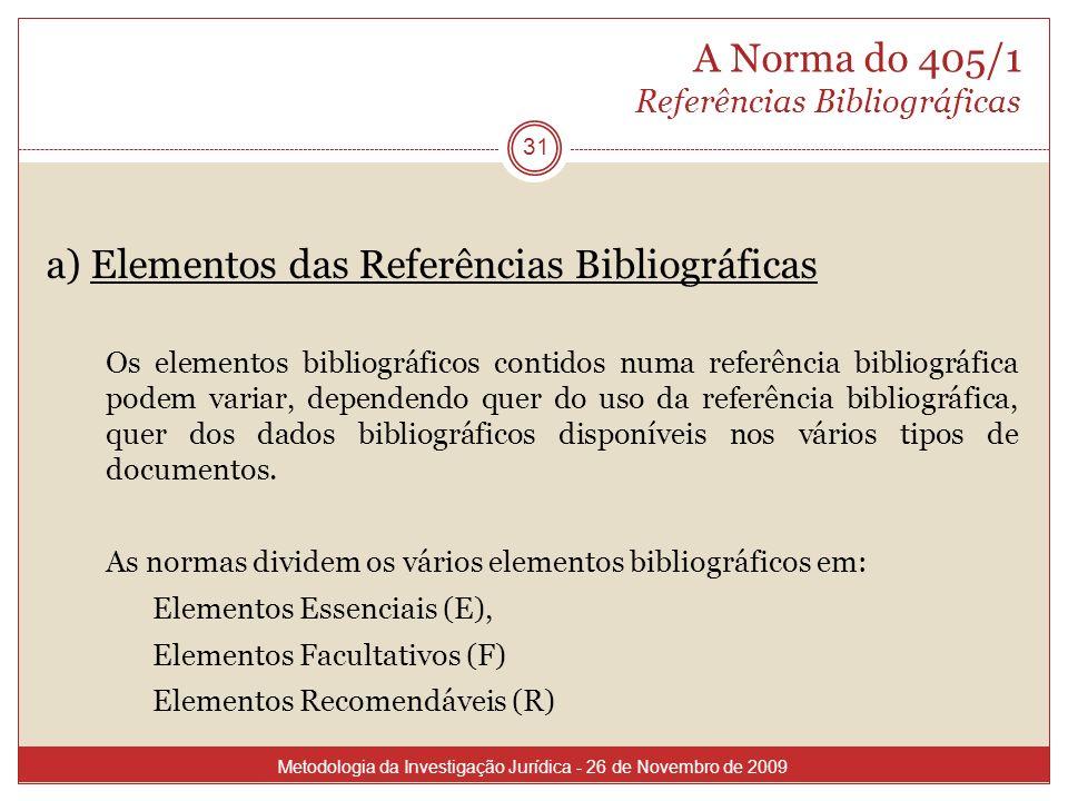 A Norma do 405/1 Referências Bibliográficas 31 a) Elementos das Referências Bibliográficas Os elementos bibliográficos contidos numa referência biblio