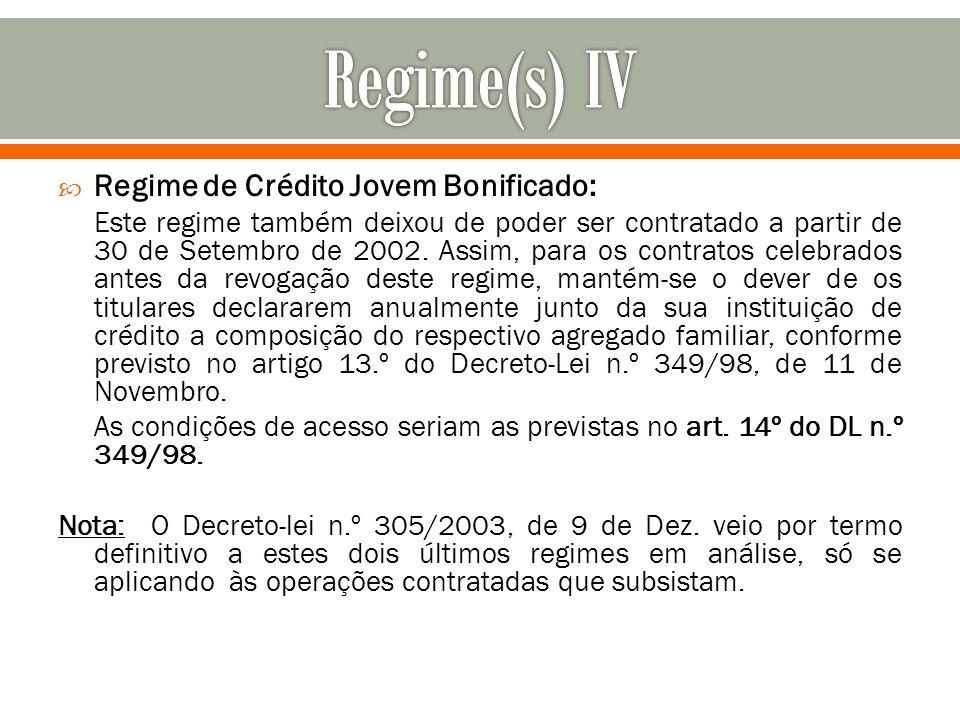 Regime de Crédito Jovem Bonificado: Este regime também deixou de poder ser contratado a partir de 30 de Setembro de 2002. Assim, para os contratos cel
