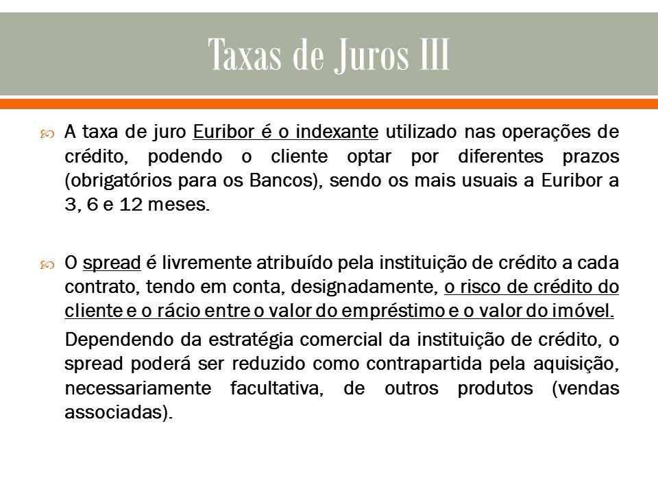 A taxa de juro Euribor é o indexante utilizado nas operações de crédito, podendo o cliente optar por diferentes prazos (obrigatórios para os Bancos),