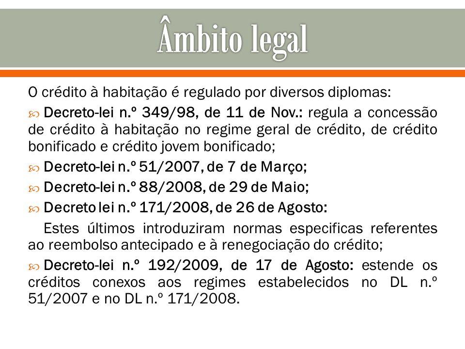 O crédito à habitação é regulado por diversos diplomas: Decreto-lei n.º 349/98, de 11 de Nov.: regula a concessão de crédito à habitação no regime ger