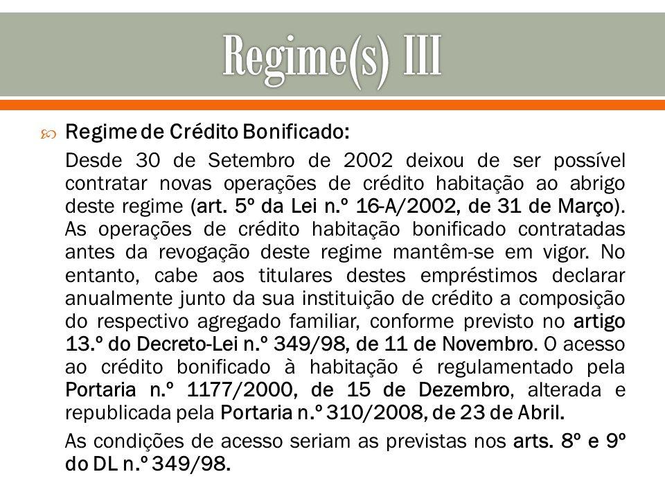 Regime de Crédito Bonificado: Desde 30 de Setembro de 2002 deixou de ser possível contratar novas operações de crédito habitação ao abrigo deste regim