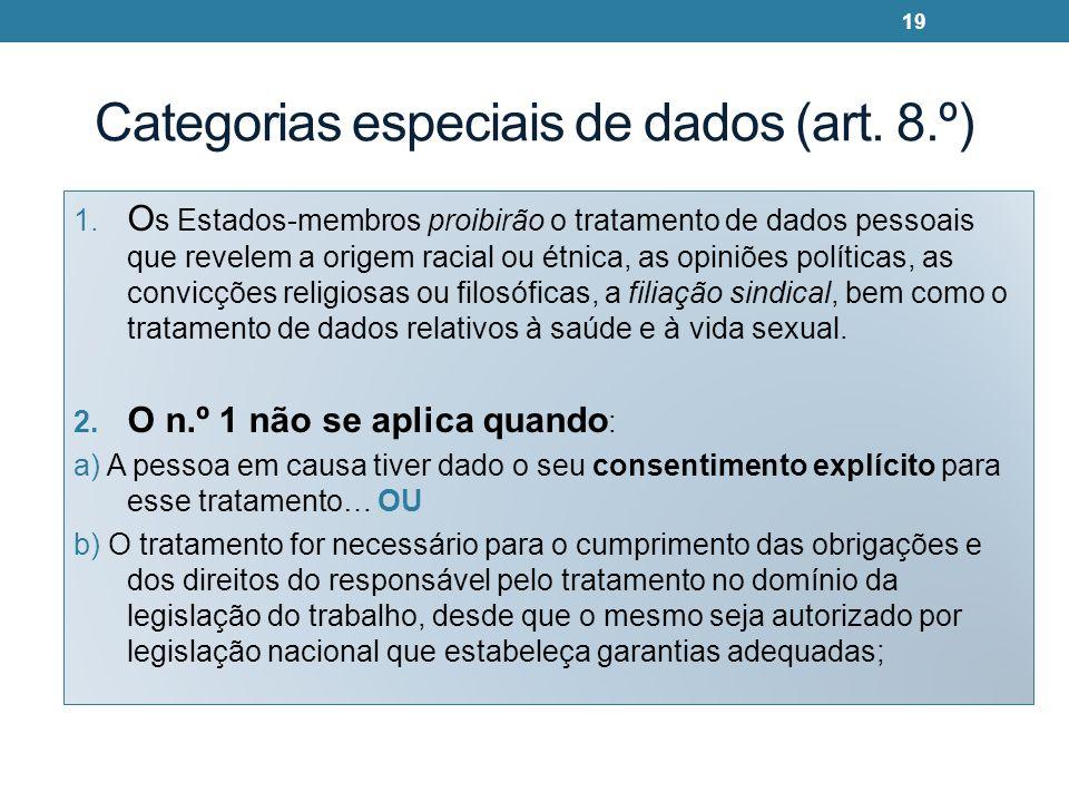 Categorias especiais de dados (art. 8.º) 1. O s Estados-membros proibirão o tratamento de dados pessoais que revelem a origem racial ou étnica, as opi