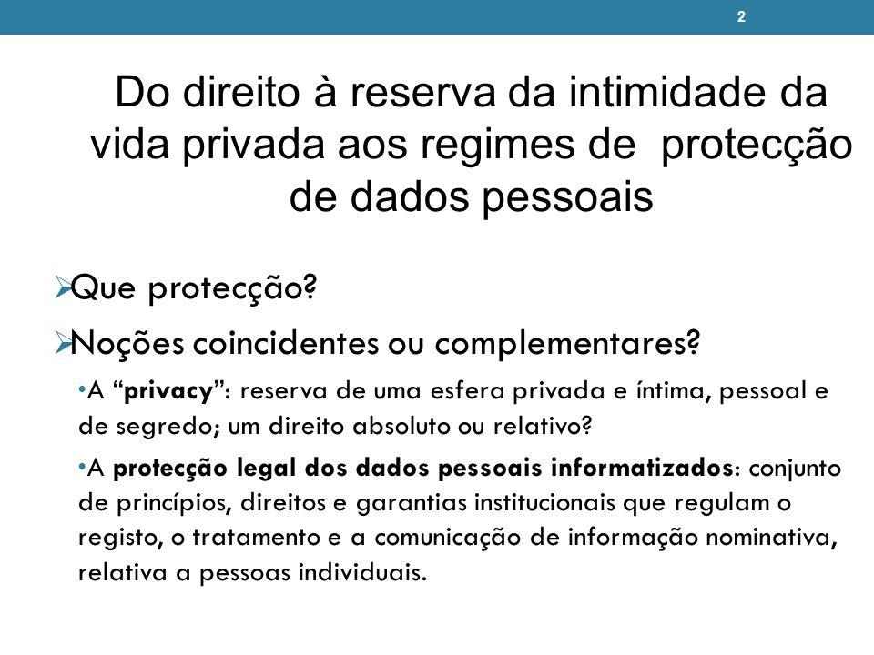 2 Do direito à reserva da intimidade da vida privada aos regimes de protecção de dados pessoais Que protecção? Noções coincidentes ou complementares?