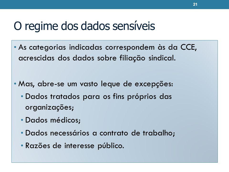 O regime dos dados sensíveis As categorias indicadas correspondem às da CCE, acrescidas dos dados sobre filiação sindical. Mas, abre-se um vasto leque
