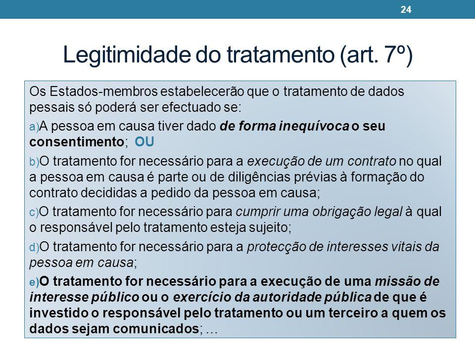 Legitimidade do tratamento (art. 7º) Os Estados-membros estabelecerão que o tratamento de dados pessais só poderá ser efectuado se: a) A pessoa em cau