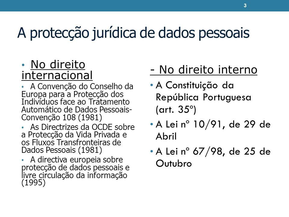 A protecção jurídica de dados pessoais No direito internacional A Convenção do Conselho da Europa para a Protecção dos Indivíduos face ao Tratamento A