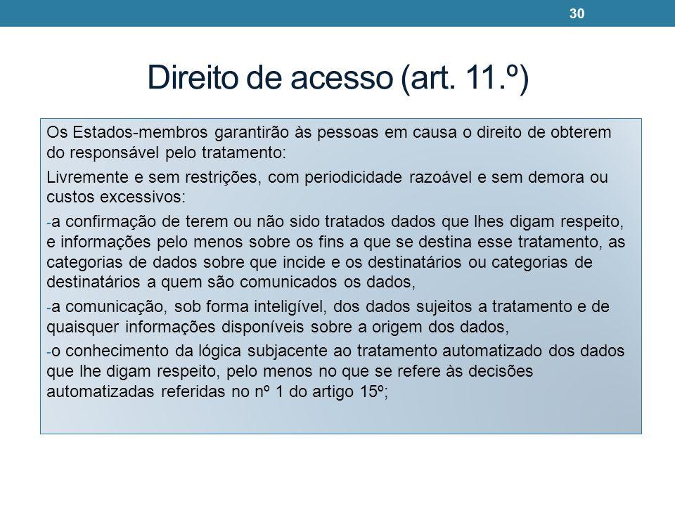Direito de acesso (art. 11.º) Os Estados-membros garantirão às pessoas em causa o direito de obterem do responsável pelo tratamento: Livremente e sem