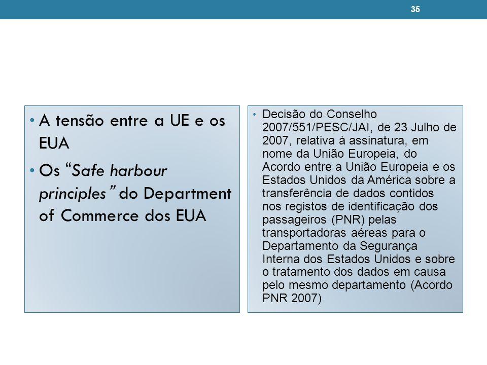A tensão entre a UE e os EUA Os Safe harbour principles do Department of Commerce dos EUA Decisão do Conselho 2007/551/PESC/JAI, de 23 Julho de 2007,