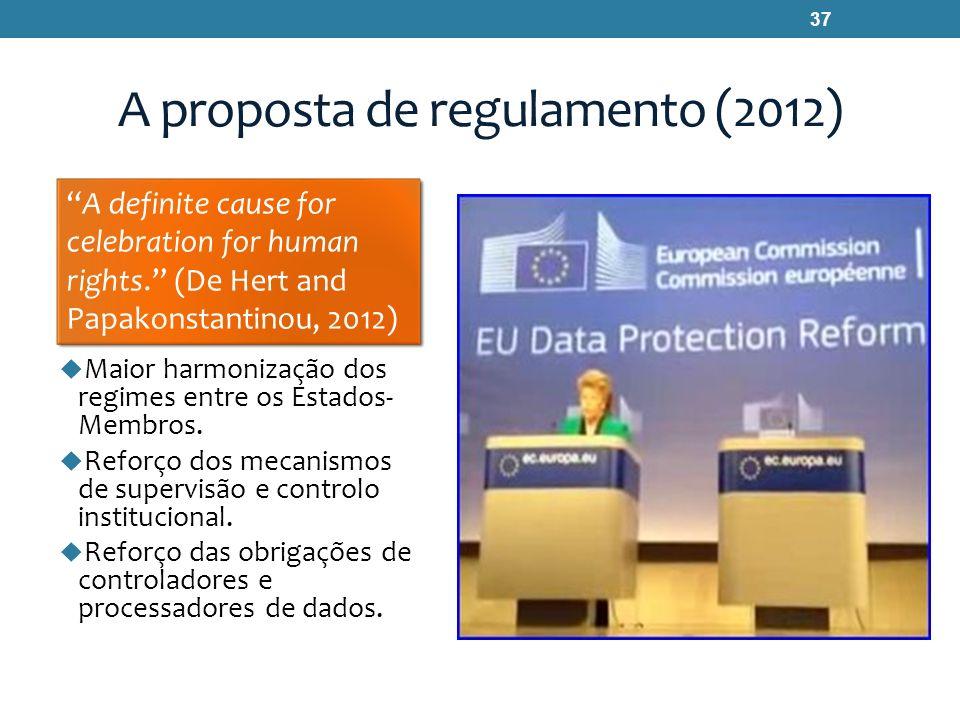 A proposta de regulamento (2012) Maior harmonização dos regimes entre os Estados- Membros. Reforço dos mecanismos de supervisão e controlo institucion
