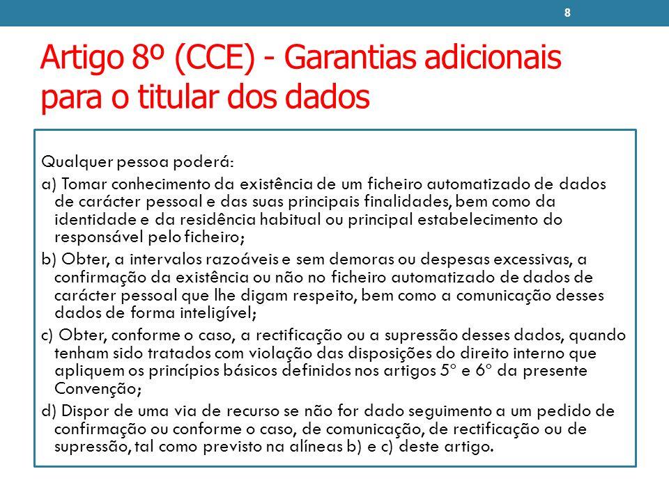 Artigo 8º (CCE) - Garantias adicionais para o titular dos dados Qualquer pessoa poderá: a) Tomar conhecimento da existência de um ficheiro automatizad
