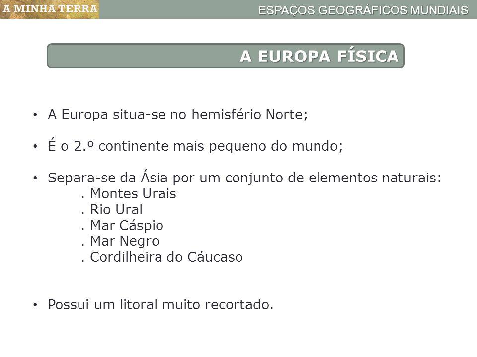 A EUROPA FÍSICA A Europa situa-se no hemisfério Norte; É o 2.º continente mais pequeno do mundo; Separa-se da Ásia por um conjunto de elementos natura