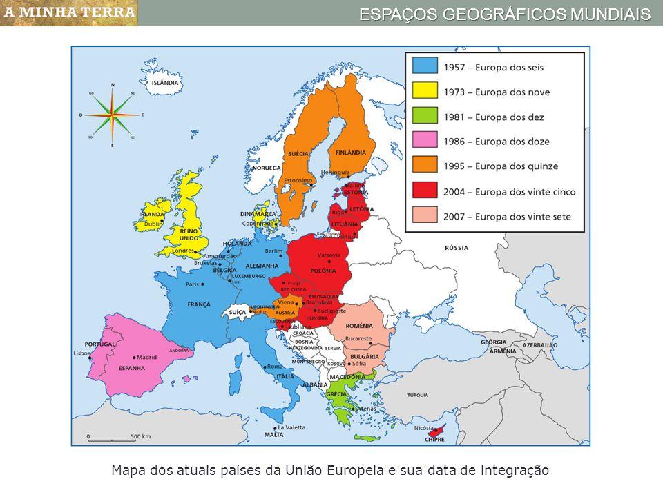 ESPAÇOS GEOGRÁFICOS MUNDIAIS Mapa dos atuais países da União Europeia e sua data de integração