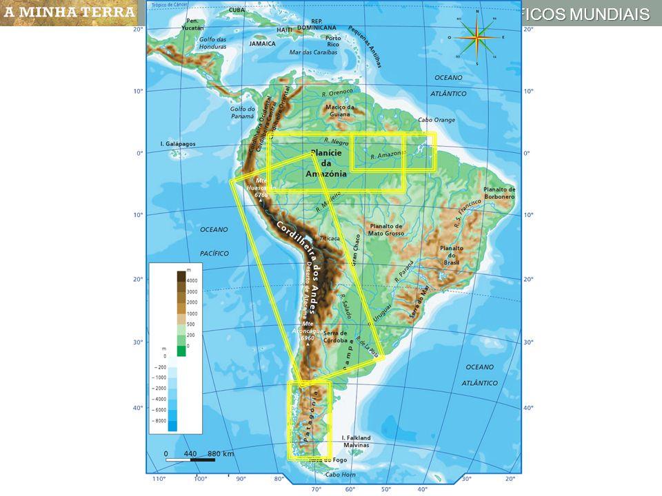 ESPAÇOS GEOGRÁFICOS MUNDIAIS Mapa hipsométrico da América Central e do Sul