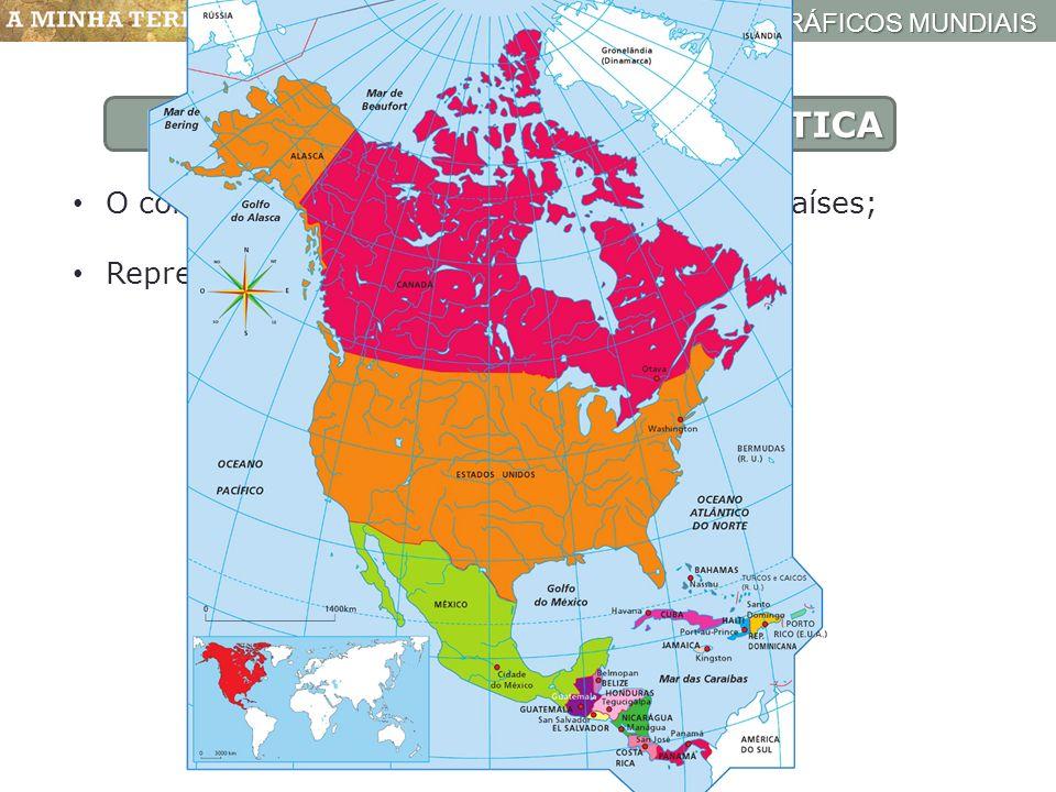 ESPAÇOS GEOGRÁFICOS MUNDIAIS Mapa político da América do Norte e Central AMÉRICA POLÍTICA O continente americano é constituído por 36 países; Represen