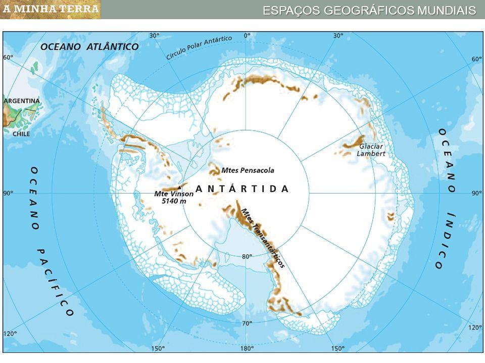 ESPAÇOS GEOGRÁFICOS MUNDIAIS Mapa hipsométrico da AntártidaANTÁRTIDA A Antártida é 5.º menor continente do mundo; Trata-se de um continente desabitado