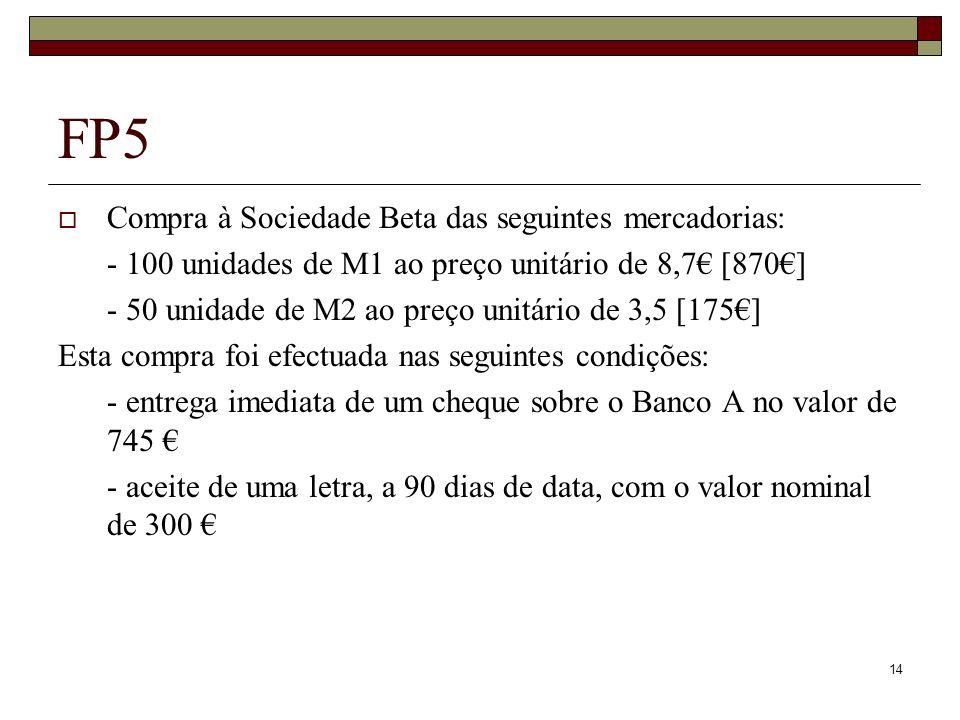 14 FP5 Compra à Sociedade Beta das seguintes mercadorias: - 100 unidades de M1 ao preço unitário de 8,7 [870] - 50 unidade de M2 ao preço unitário de