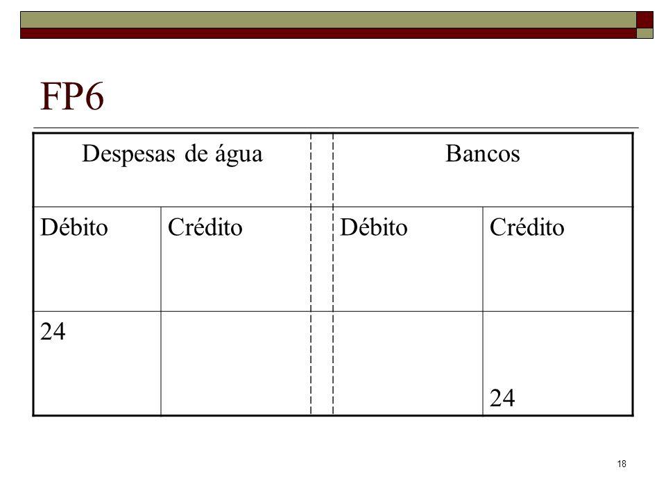 18 FP6 Despesas de águaBancos DébitoCréditoDébitoCrédito 24