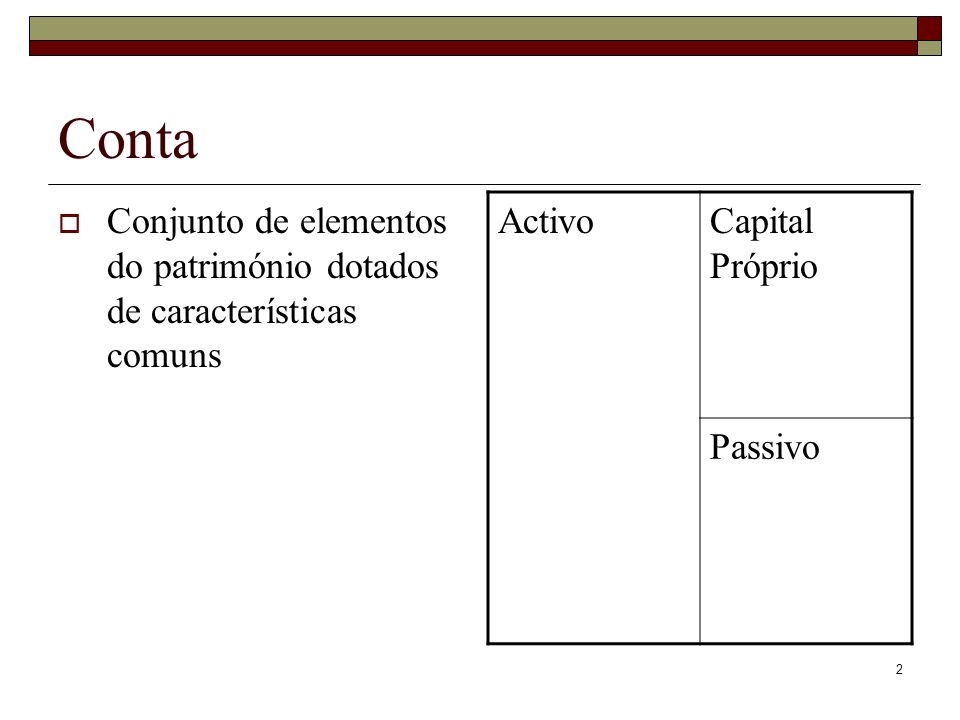 2 Conta Conjunto de elementos do património dotados de características comuns ActivoCapital Próprio Passivo