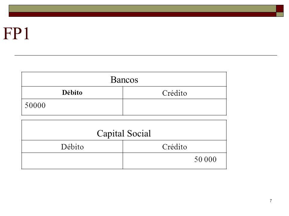 7 FP1 Bancos Débito Crédito 50000 Capital Social DébitoCrédito 50 000