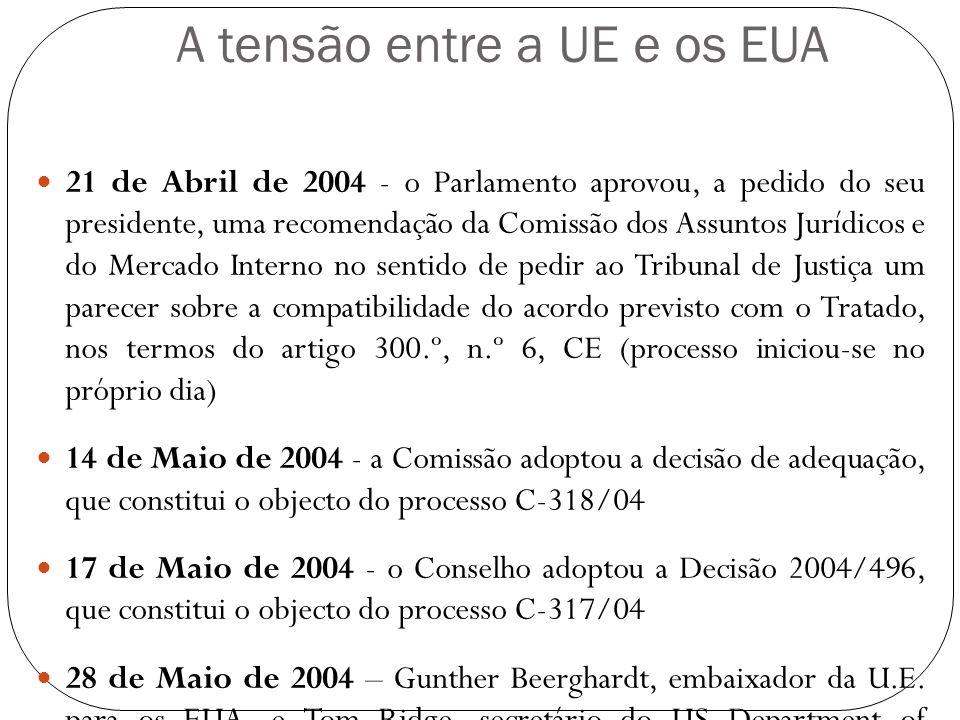 A tensão entre a UE e os EUA 21 de Abril de 2004 - o Parlamento aprovou, a pedido do seu presidente, uma recomendação da Comissão dos Assuntos Jurídic