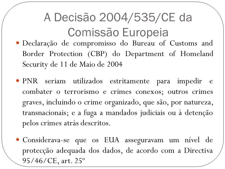 A Decisão 2004/535/CE da Comissão Europeia Declaração de compromisso do Bureau of Customs and Border Protection (CBP) do Department of Homeland Securi