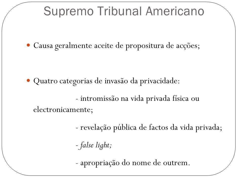 Supremo Tribunal Americano Causa geralmente aceite de propositura de acções; Quatro categorias de invasão da privacidade: - intromissão na vida privad