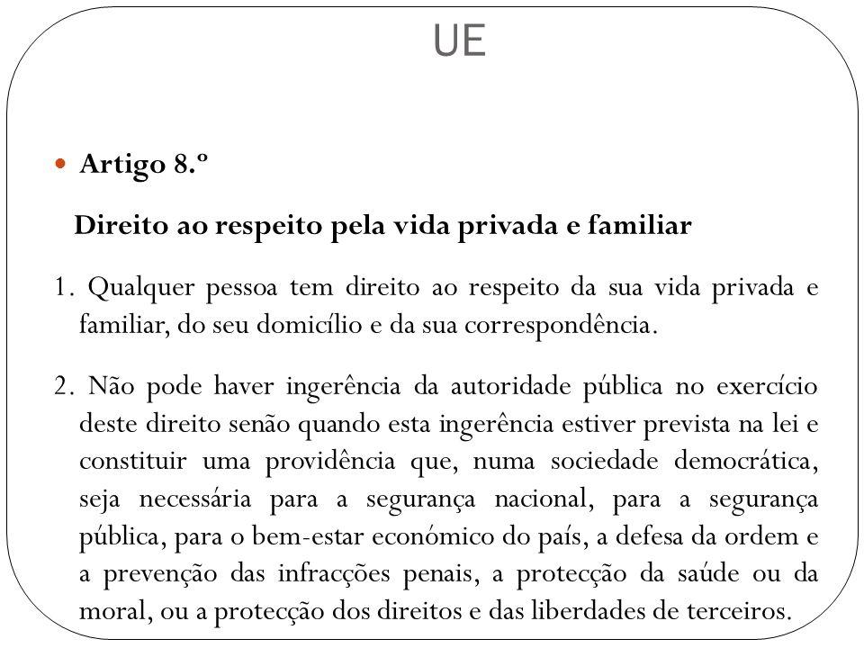UE Artigo 8.º Direito ao respeito pela vida privada e familiar 1. Qualquer pessoa tem direito ao respeito da sua vida privada e familiar, do seu domic