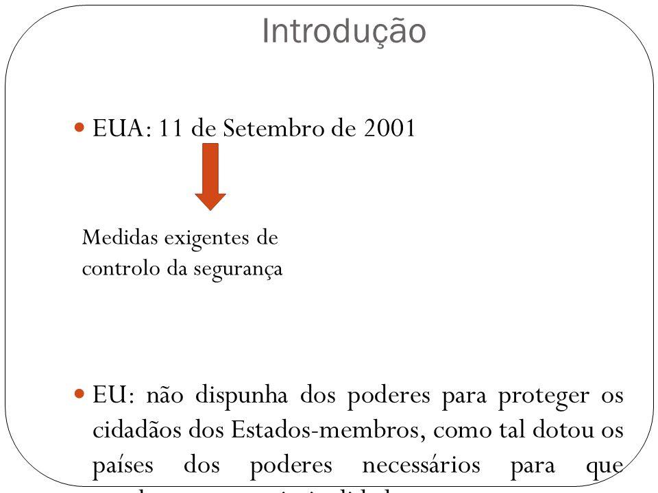 Introdução EUA: 11 de Setembro de 2001 EU: não dispunha dos poderes para proteger os cidadãos dos Estados-membros, como tal dotou os países dos podere