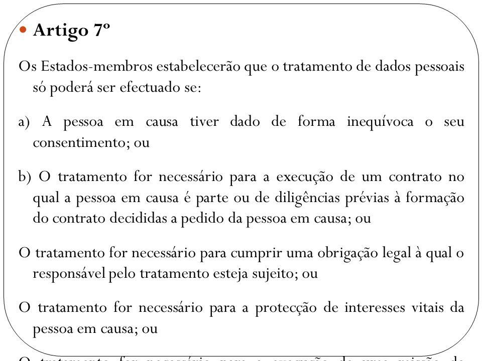 Artigo 7º Os Estados-membros estabelecerão que o tratamento de dados pessoais só poderá ser efectuado se: a) A pessoa em causa tiver dado de forma ine
