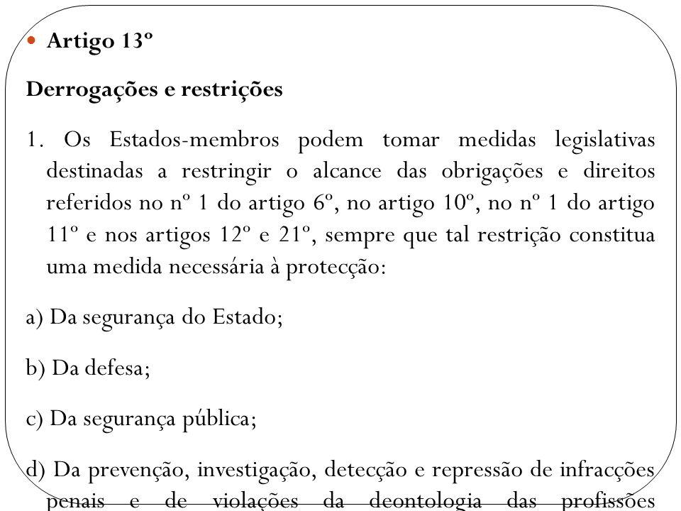 Artigo 13º Derrogações e restrições 1. Os Estados-membros podem tomar medidas legislativas destinadas a restringir o alcance das obrigações e direitos