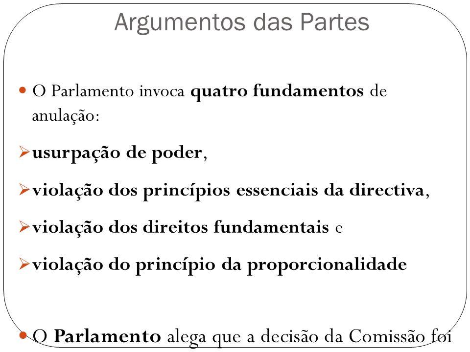 Argumentos das Partes O Parlamento invoca quatro fundamentos de anulação: usurpação de poder, violação dos princípios essenciais da directiva, violaçã