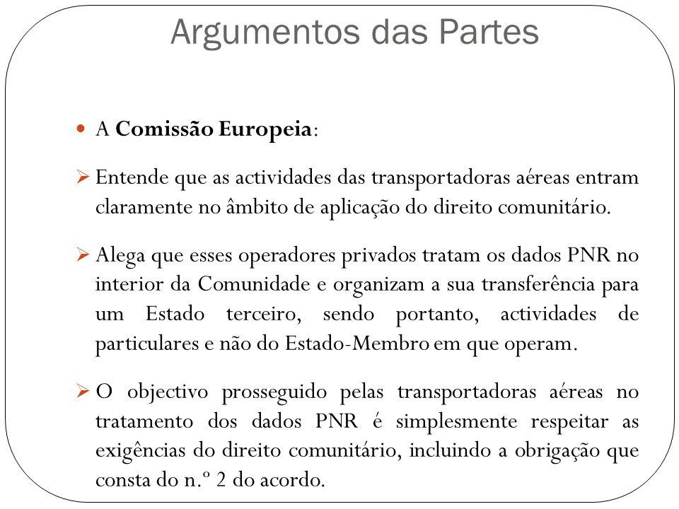Argumentos das Partes A Comissão Europeia: Entende que as actividades das transportadoras aéreas entram claramente no âmbito de aplicação do direito c