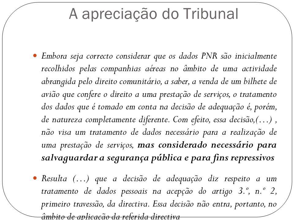 A apreciação do Tribunal Embora seja correcto considerar que os dados PNR são inicialmente recolhidos pelas companhias aéreas no âmbito de uma activid