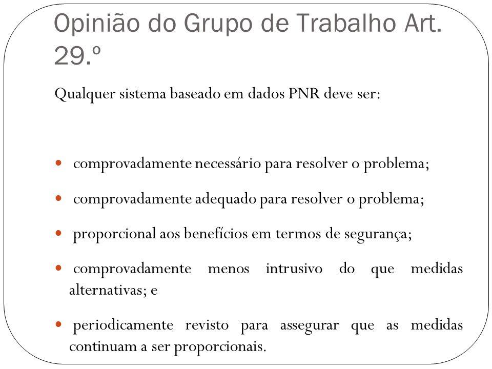 Opinião do Grupo de Trabalho Art. 29.º Qualquer sistema baseado em dados PNR deve ser: comprovadamente necessário para resolver o problema; comprovada