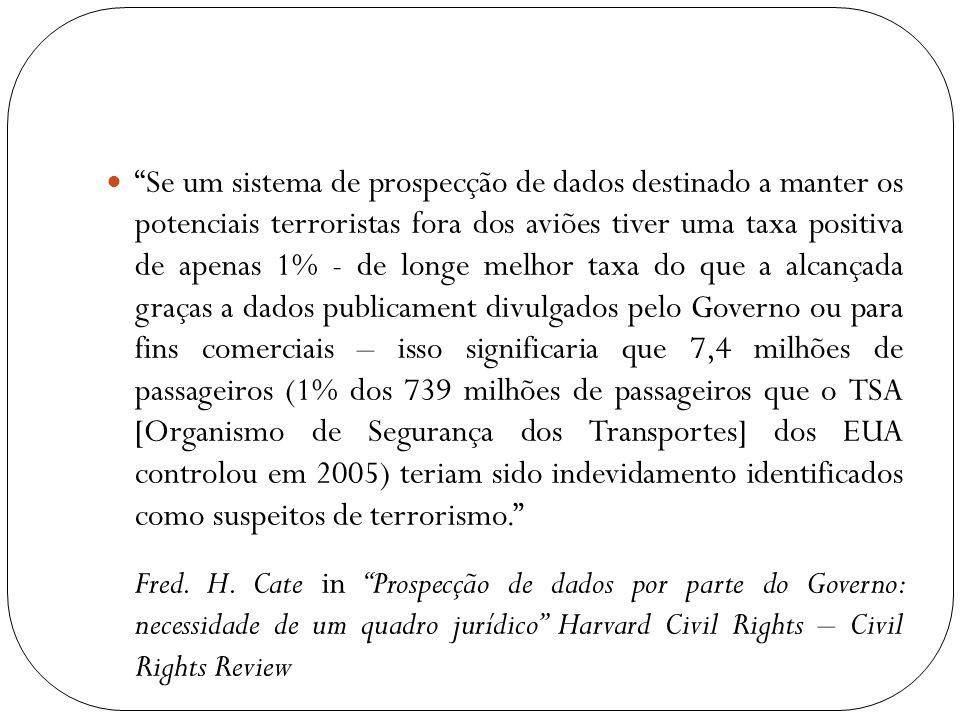 Se um sistema de prospecção de dados destinado a manter os potenciais terroristas fora dos aviões tiver uma taxa positiva de apenas 1% - de longe melh