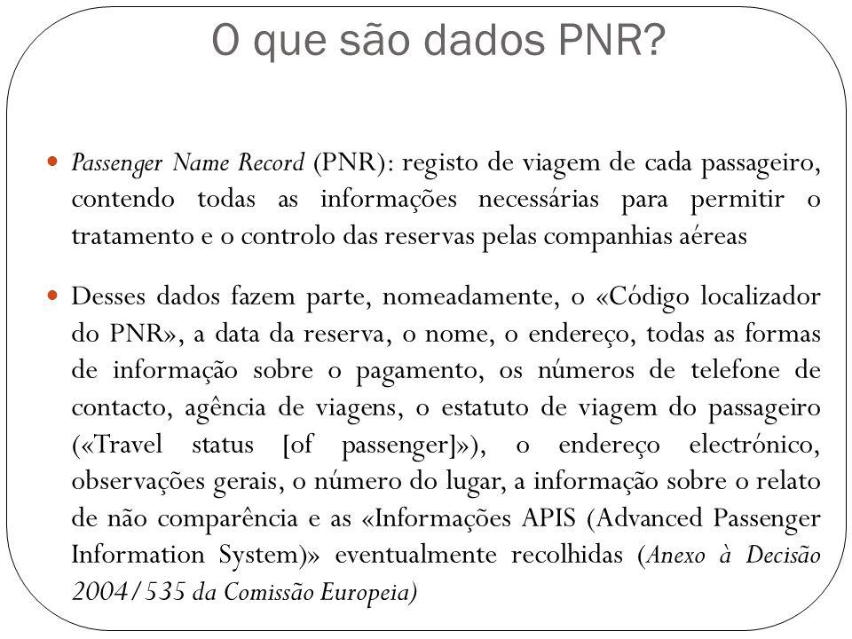 O que são dados PNR? Passenger Name Record (PNR): registo de viagem de cada passageiro, contendo todas as informações necessárias para permitir o trat