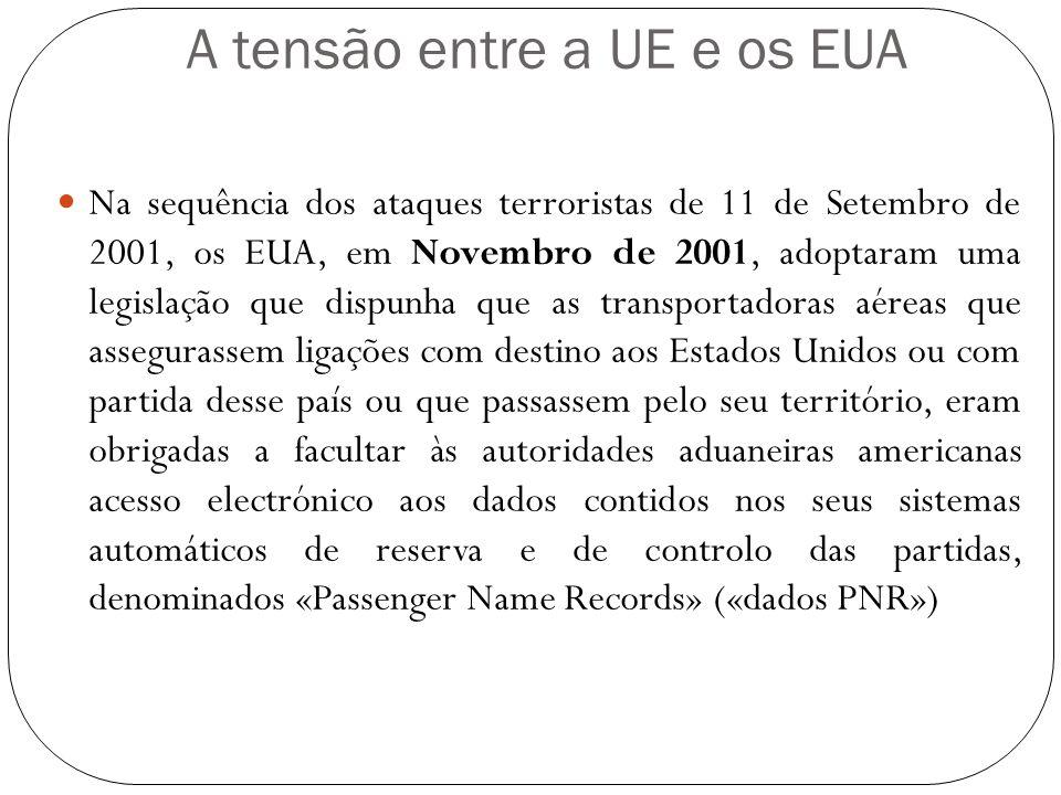 A tensão entre a UE e os EUA Na sequência dos ataques terroristas de 11 de Setembro de 2001, os EUA, em Novembro de 2001, adoptaram uma legislação que