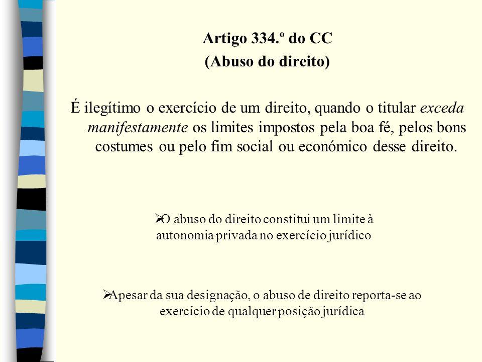 Artigo 334.º do CC (Abuso do direito) É ilegítimo o exercício de um direito, quando o titular exceda manifestamente os limites impostos pela boa fé, p
