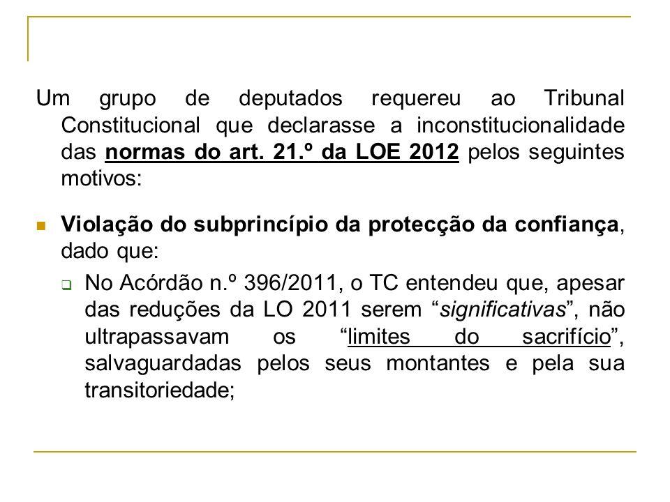 Um grupo de deputados requereu ao Tribunal Constitucional que declarasse a inconstitucionalidade das normas do art. 21.º da LOE 2012 pelos seguintes m