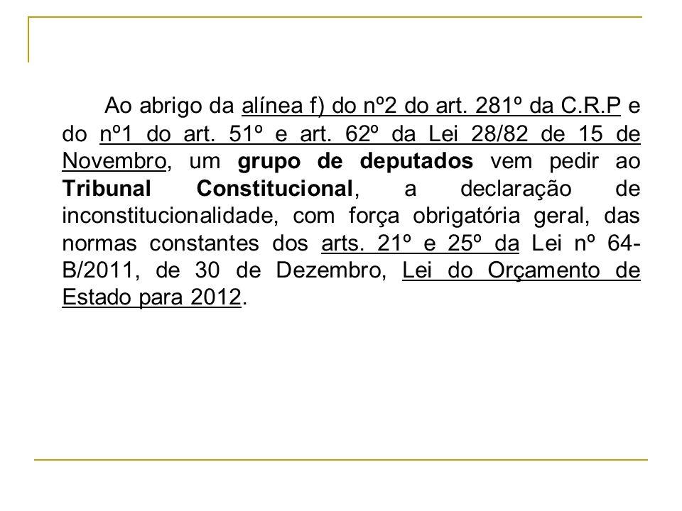 Ao abrigo da alínea f) do nº2 do art. 281º da C.R.P e do nº1 do art. 51º e art. 62º da Lei 28/82 de 15 de Novembro, um grupo de deputados vem pedir ao