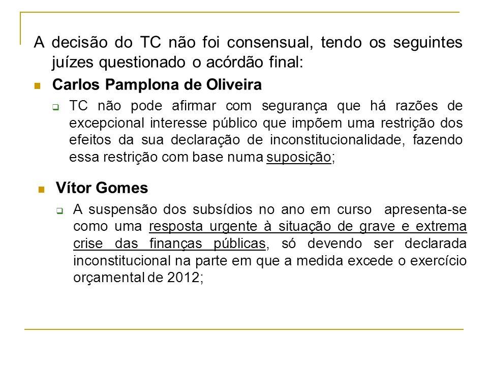 A decisão do TC não foi consensual, tendo os seguintes juízes questionado o acórdão final: Carlos Pamplona de Oliveira TC não pode afirmar com seguran