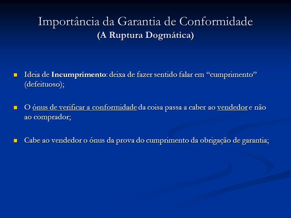 Importância da Garantia de Conformidade (A Ruptura Dogmática) Ideia de Incumprimento: deixa de fazer sentido falar em cumprimento (defeituoso); Ideia