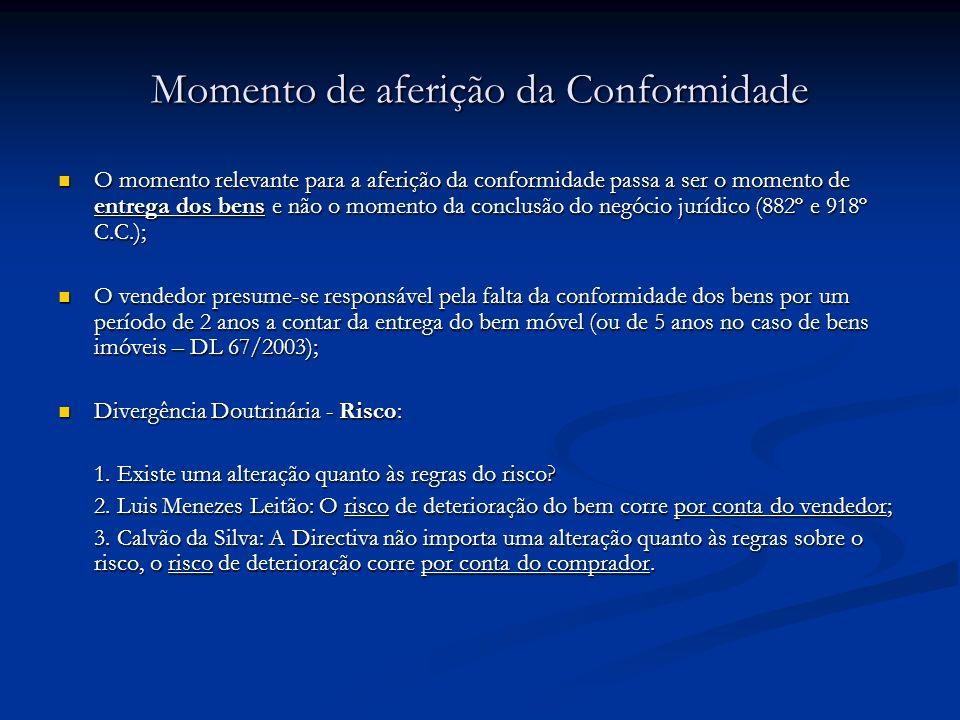 Momento de aferição da Conformidade O momento relevante para a aferição da conformidade passa a ser o momento de entrega dos bens e não o momento da c