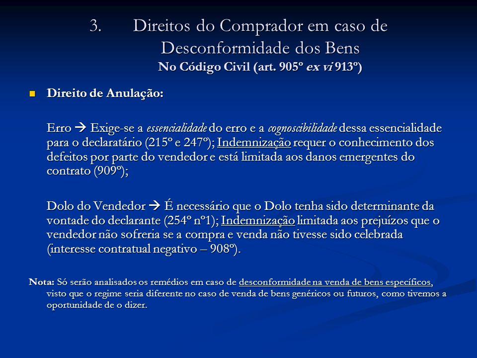3.Direitos do Comprador em caso de Desconformidade dos Bens No Código Civil (art. 905º ex vi 913º) Direito de Anulação: Direito de Anulação: Erro Exig