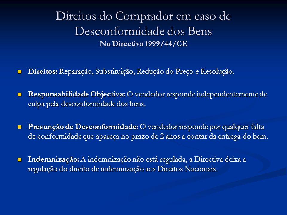 Direitos do Comprador em caso de Desconformidade dos Bens Na Directiva 1999/44/CE Direitos: Reparação, Substituição, Redução do Preço e Resolução. Dir